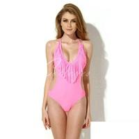 2015 Fashion One Piece Red Pink Bathing Suit Sexy High Cut One Piece Tassel Swimsuit  Women Bathing suits Beach Wear Monokini