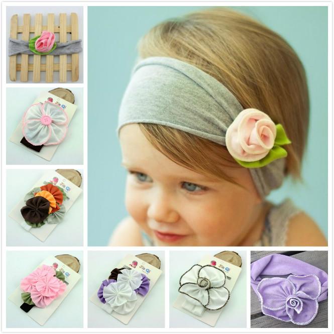 fashion baby rose flower hair bands headband eco-friendly children cotton cloth headband girl hair jewelry(China (Mainland))