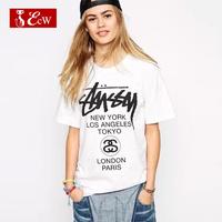 ECW NEW 2015 Fashion Women T shirt Cotton Casual Loose Letter Print T shirt Spring Summer Blusas Femininas Women Tops