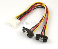 2pcs/lot 4pin IDE to 2 sata splitter cable 20cm to 15pin sata cables 90degree free shipping