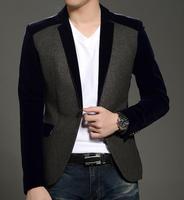 Men new fashion jacket and blazer spring autumn winter coat slim fit velvet red black blue male blaser