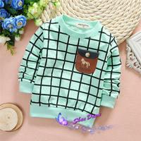 2015 Spring and Autumn Child Boys horse plaid cartoon T-shirts,Kids Tops,4pcs/lot,V1557