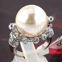 Beautiful  fresh shell pearl woman's ring  +14