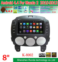 Pure Android 4.4 Car DVD GPS For Mazda 2  2010-2012 with Built in WIFI 3G DVR USB Bluetooth Capacitive Screen