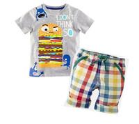 Boys Clothing Set 2015 Summer Hanburg Baby Boys T-shirt+Plaid Short Pants Brand Children Clothing Fashion Kids Clothes c20