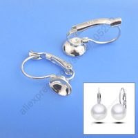 Discount 50PCS(25Pairs) Rhodium Plated 925 Sterling Silver Jewelry Findings Earring French Ear Lever Back Design Beads Handmade