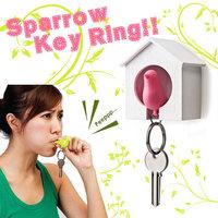 100PCS  Love birds Birdhouse Keychain DUO Sparrow bird Key Ring Two Birds Novelty Home Decoration valentines