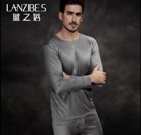 Male silk long johns long johns o-neck 100 silk knitted sweater basic thin thermal underwear set