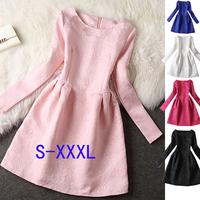 S-XXXL 2015 autumn and winter plus size women's temperament Slim princess dress tutu dress ladies long sleeve mini dress#XU20
