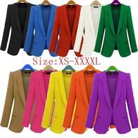 Blazer women 2014 autumn Candy Color Rolled up Sleeve boyfriend Style Covered Button feminino Slim Blazers Jacket Suits 4XL