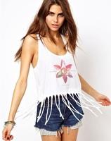 2015 new arrived tassels short tank top women sexy crop tops,print geometric floral women tops
