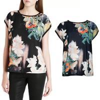 2015 Brand design Summer Ladies Vestidos Retro Flower Print Black Chiffon Shirt Floral Blouse Women Sleeveless Casual Brand Tops