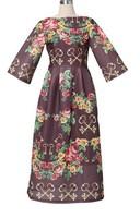 Top Grade 2014 European Autumn Winter Sexy Slash-neck Vintage Printing Three Quarter Sleeve Jacquard Cotton Dress
