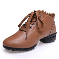 Autumn and winter square dance shoes genuine leather women's soft outsole elevator women's shoes dance shoes fitness