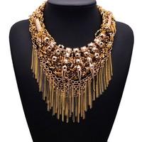 2015 NEW ZA Big Brand Statement Shourouk Vintgae Tassel Fashion Clain NecklaceCollar Bib Necklaces & Pendants Jewelry Women 9895