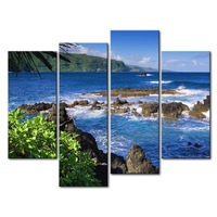 3 Piece Blue Wall Art Painting Maui Bay Blue Ocean Rock Tree Picture Print On Canvas Seascape 4 5 The Picture