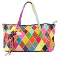 multi-color genuine leather patchwork handbags for women fashion accesorries