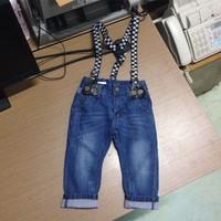 Spring 2015 children jeans baby washed denim pants with shoulder straps