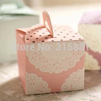 White lace Pink Hand Cake Box,Wedding Favor Cake Box,Gift Packaging Box