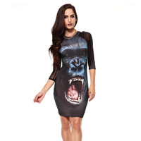 Dilameng Europe elegant Sexy - 7 Quarter Sleeve slim package hip gorilla print dress 21842