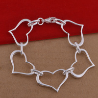Trade jewelry wholesale 925 silver bracelets Heart Bracelet European and American fashion five large spot