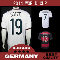 TOP Quality 4 Stars Germany 2014 World Cup Soccer jerseys OZIL GOTZE Home Away football jerseys alemanha jersey free shipping