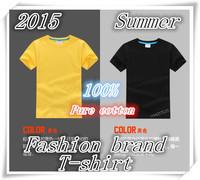Free shipping!2015 summer child t-shirt short-sleeve 10 color 100% cotton t-shirt boy girl customize t shirt