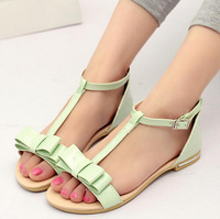 2015 Summer Hot sale New Fashion Casual Women Sandals Solid Sweet Bow Design Shoes Open toe Girls' Patent Leather sandalias