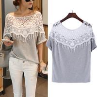 2014 sweet hollow out lace T-shirt manual hook flower collar corner bat sleeve blouse T-shirt