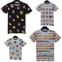 Top Fashion 2015 New Emoji Print Men/Woman T Shirt Cute Cartoon Element T Shirt Casual Tops 100 Emojis Shirts Crewnecks T-Shirt