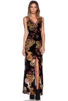 NEW Women Casual gauze patchwork Deep V-neck Backless Sleeveless slit Dress Chiffon floral print Bohemian Beach Dresses Vestidos