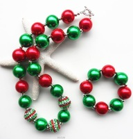 latest christmas red green chunky acrylic pearl bubblegum beads necklace bracelet jewelry sets for kids/girls/baby gifts/present