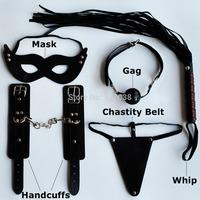 5 pcs leather Adult Sex Games Flirting Toys Kit for Couples women bondage restraint Set: Mask Hand cuffs Whip Gag chastity belt
