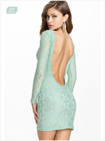 2015 Fashion Summer Women Dress Bodycon Flower Lace Dress Backless Evening Mini  Sexy Dress Blue/Pink Dress ZHX