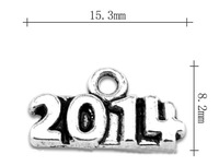 free shipping 50pcs a lot antique silver plated alloy 2014 dates&numbers charms jewelry accessory