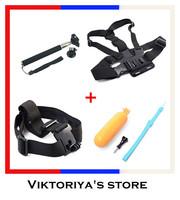 Gopro Accessories Mount 4 in Kit Floating Hand Grip + Head Strap + Chest Belt Head +Monopod Tripod Mount