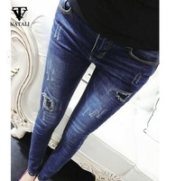 2015 spring  new woman  denim pencil  pants hole  ripped  retro jeans pants  plus size skinny pants casual trousers C2237
