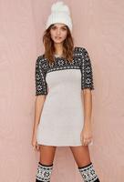 2015 Spring New Arrival Black Snowflakes jacquard weater Dress round neck Half sleeve knitting dress vestidos High Quality