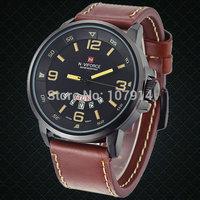 2015 NEW NAVIFORCE Fashion men quartz watch Vogue Leather Waterproof military Analog Clock Army Mens sports Watches Wrist watch