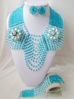 Gorgeous turquoise blue clear AB crystal costume bridal nigerian wedding african beads jewelry set AAA-186
