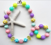 popular new arrival chunky beads necklace4 sets kids/girls/baby favourite colorful bubblegum necklace bracelet jewelry Handmade!