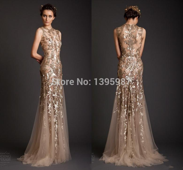 Super Fashion Dress Gold Evening Dresses