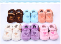 Baby shoes baby soft soled shoes / soft coral fleece  love first walkers shoes 3 pairs/lot  DD959