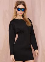 2015 New Fashion Casual Batwing Sleeve Dress Women's Zipper Sexy Dresses Slim Hip Long Sleeve Plus Size Mini Dresses vestidos