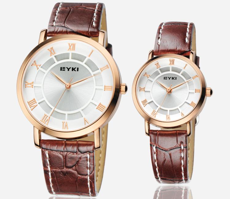 Original EYKI Brand Lovers Watch Pair Korean Design Quartz Watch Leather Band Plain Fashion & Casual Couples watches Women New(China (Main