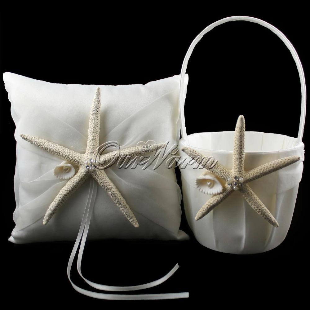 2Pcs/set New Fashion Satin Wedding Ceremony Starfish Ring Pillow + Flower Basket Set Bridal Decoration Product Supplies(China (Mainland))