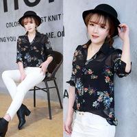 2015 exclusive new print chiffon shirt female long-sleeved casual shirt collar loose casual fashion women cheap shirt