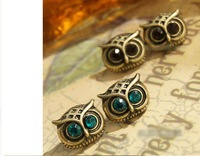 C7R5C Wholesale 12 paris/lot Korean Fashion Romantic Elegant Charm Green and Brown Eyes Owl Earrings