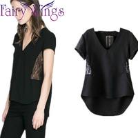 2015 Women Blouses Spring Summer Lace V Neck Sexy Hollow Out Casual Short Sleeve Blusas Femininas Blouse Shirt Elegant PH2735