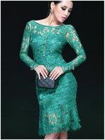 LD035,Free shipping Elegant lace stitching black bag hip sexy backless long sleeve cherrykeke sexy dress